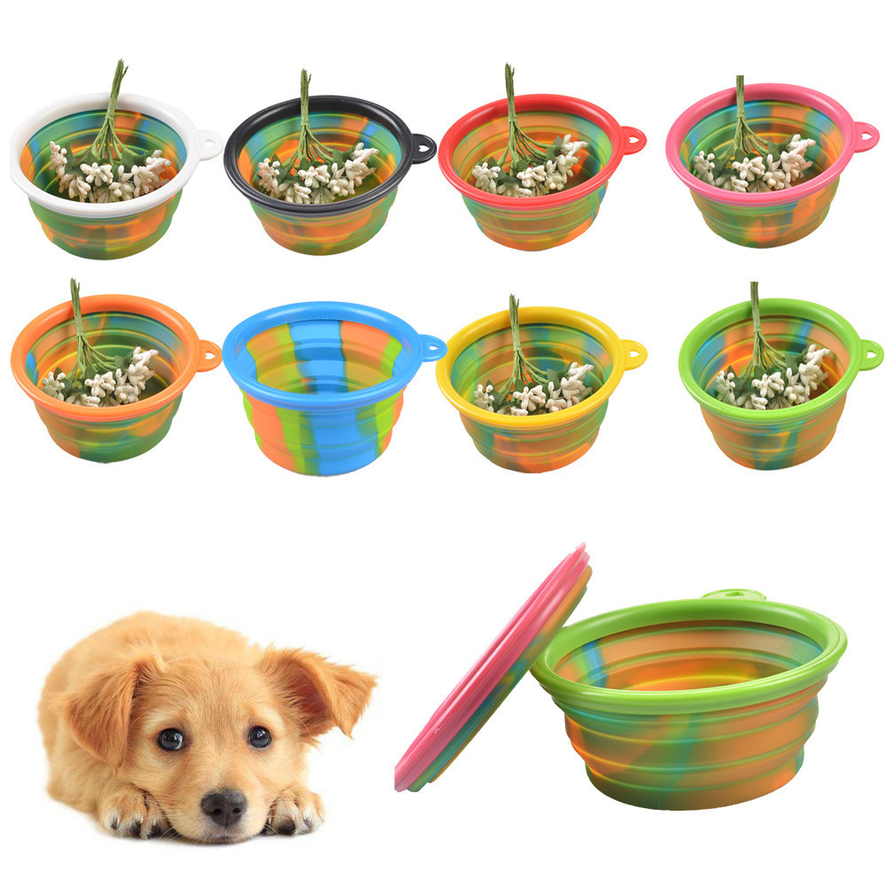 Portable Dog Pet Travel Collapsible Food Water Bowls Pets: Aliexpress.com : Buy Camouflage Pet Silicone Bowl