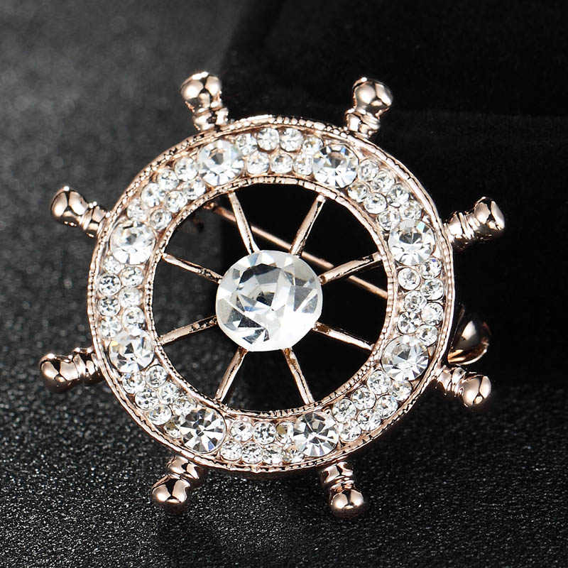 Fashion pria Merek Jangkar Bros Pins Jewelry Shiny Austria Kristal Bros Wanita Pernyataan Pin Syal Brohces