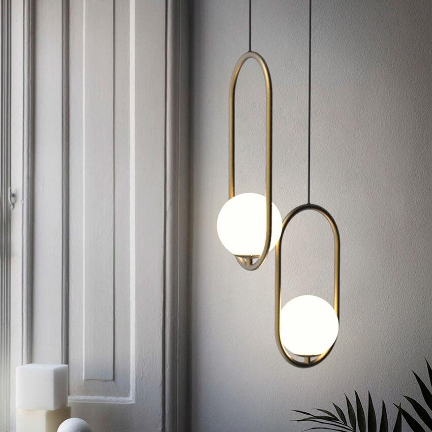 Nordic Led Pendant Lights Lighting Luminaire Industriel Hanging Lamp Lustre Suspension Ball Glass Pendant Lamps Kitchen Fixtures