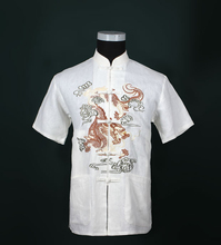 Free Shipping!!! Sale White Chinese Tradition Style Men's Dragon Pattern Kung Fu Short Sleeve Shirts Top M-L-XL-XXL-3XL LD37