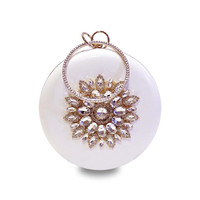 BEARBERRY 2017 round shaped evening clutch luxury diamond sunflowers banquet bags with chain clutch purse for ladies MN759