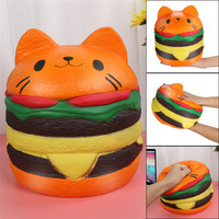Adorable Squishies Kawaii Jumbo Hamburger Cat Slow Rising Cream Scented Stress Relief Toy squirrel swipes anti for kidD4