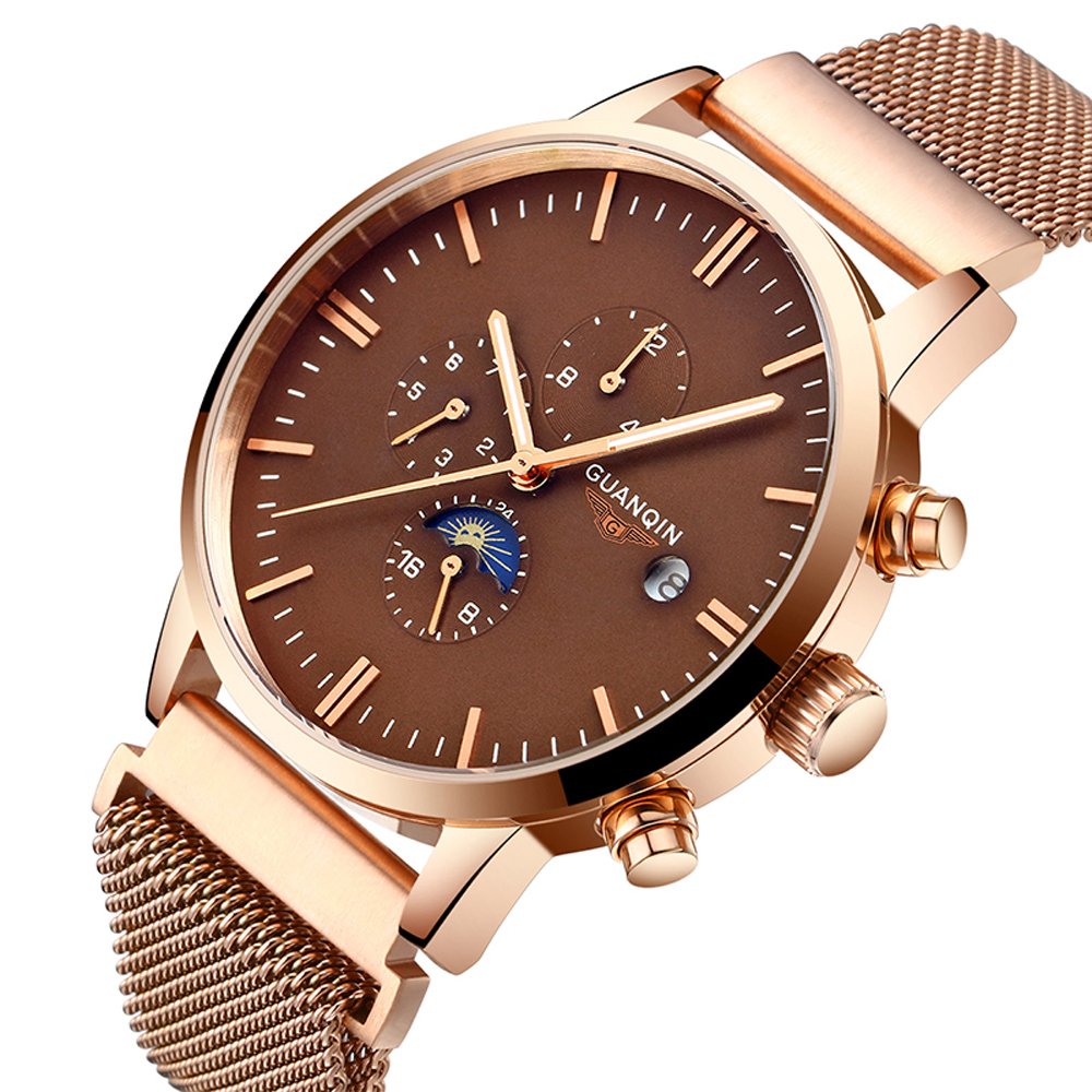 GUANQIN Luxury Brand New Fashion Watch Men Automatic Date Clock Male Mesh Band Gold Full Steel Waterproof Mechanical Wristwatch sewor brand sport men gold watch luxury mechanical automatic wristwatch men dress steel business fashion clock gift watch