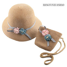 HANGYUNXUANHAO 2019 New Korean Spring Summer Ribbon Bow Double Flower Hat Child Straw Baby Girls Beach + bag Sun