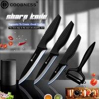 COOBNESS Brand Ceramic Knife Cooking Kit 3 4 5 Inch Black Zirconia Kitchen Knife Sharp Peeler