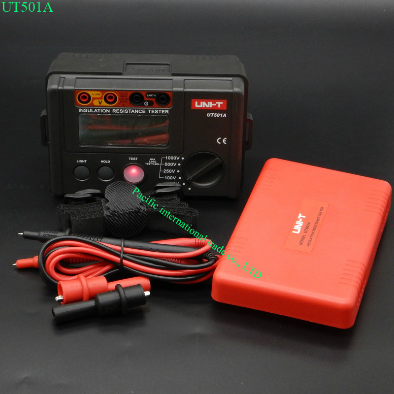 LCD Backlight Display UNI-T UT501A 100V--1000V megger Insulation earth ground resistance meter Tester Megohmmeter Voltmeter uni t ut522 2 7 lcd digital earth ground resistance voltage meter tester 6 x aa