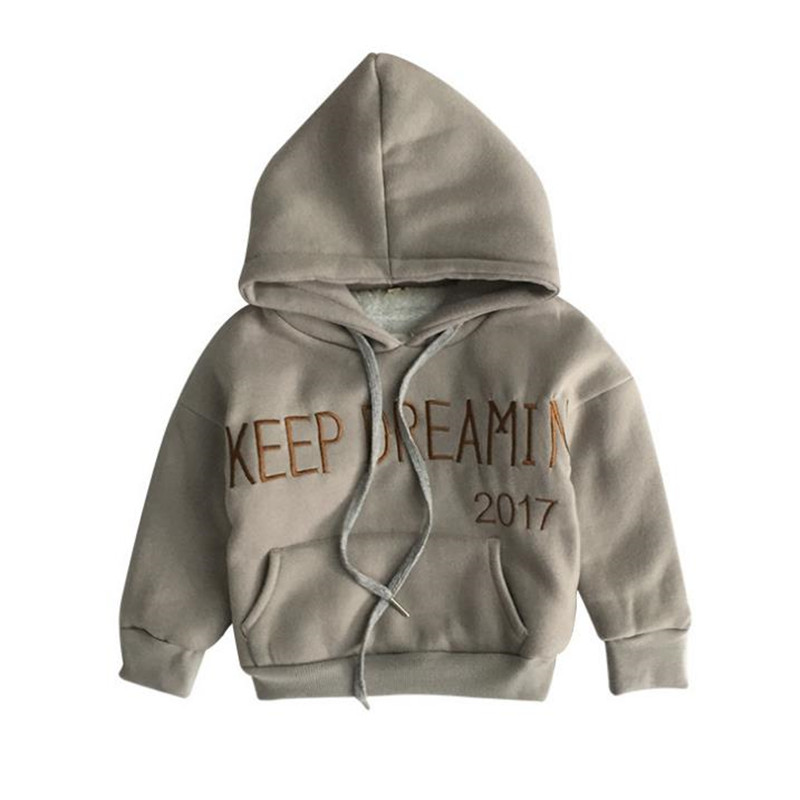 DFXD Children Hoodies 2017 Winter Baby Boys Long Sleeve Letter Print Thick Hooded Pullover Tops Kids Warm Sweatshirts 2-8Years