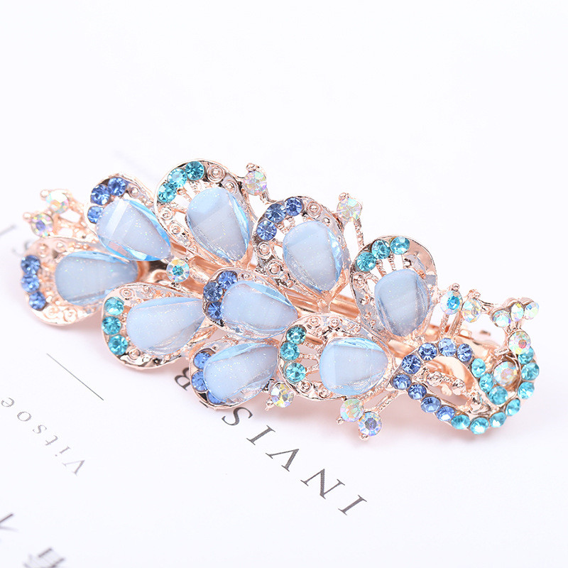 Haimekang Fashion Women's Crystal Peacock Hairpin Vintage Rhinestone Hair Pin Barrette Hair Clip Hair Styling Accessories