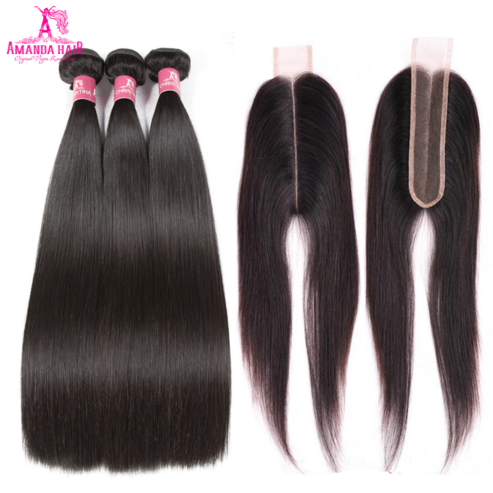 Amanda Kim K Closure With Bundles Brazilian Straight Hair Weave 100% Remy Human Hair Bundles With Closure 3 Bundles With Closure