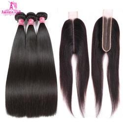 Аманда Ким K прямые волосы 3 Комплект s с закрытием 4 шт./лот средняя часть 2x6 inche 100% бразильский ткет волос Комплект натуральные волосы