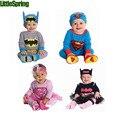 2017 Nueva primavera otoño mamelucos del bebé chicas chicos set superman batman modelado mono cinta del sombrero Traje del bebé ropa ropa de bebé