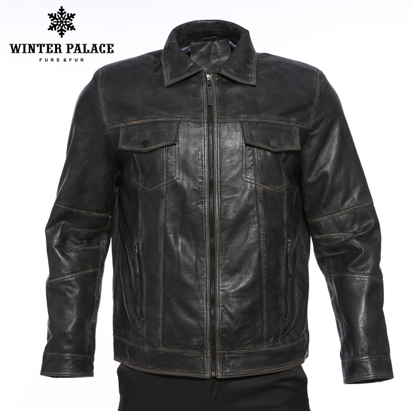Ретро Для мужчин локомотив воротник кожаная куртка Для мужчин Модная молодежная кожаная куртка уличный стиль пальто Мужская одежда молоды...