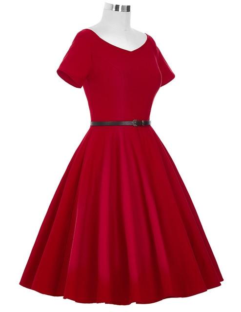 Women Dress 2016 Retro Vintage Short Sleeve V Neck Black Red Summer Dress Tunic Vestidos 1950s 60s Rockabilly Swing Party Dress