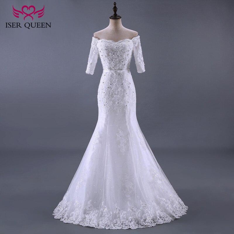 ISER QUEEN Half Sleeve Vintage Mermaid Wedding Dresses With Lace Appliques Beading Crystal Sashes Elegant Bridal Dresses WX0084