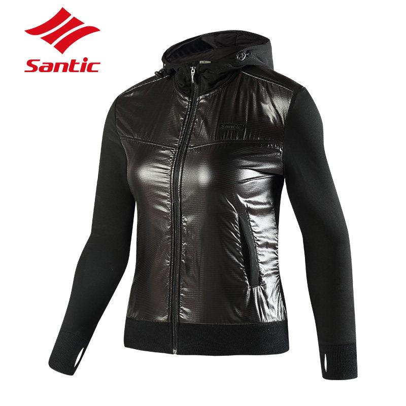 ФОТО Santic Women Winter Cycling Jacket Thermal Hooded Cycling Jacket Long Sleeve Windproof Warm Bike Bicycle Jacket Cycling Clothing
