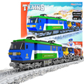 573pcs AlanWhale Classical Cargo Train Blue Locomotive Model Building Blocks Bricks Educational Railway Toy Compatible With Lego