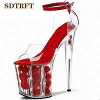 SDTRFT Shoes Woman Plus 35 45 46 Summer New Ladies Crystal Flower Platforms Sandals 20cm Thin