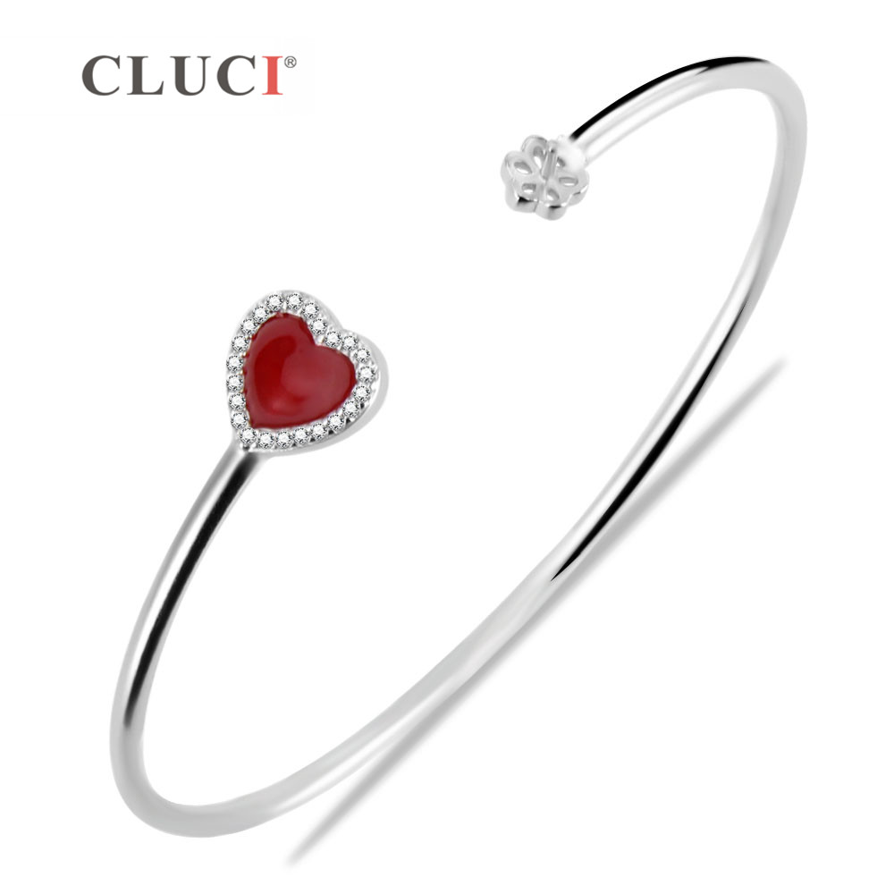 CLUCI Sparkling red heart Charms 925 Sterling Silver Bracelet Accessary For Women Wedding/Birthday/Valentines gift for women