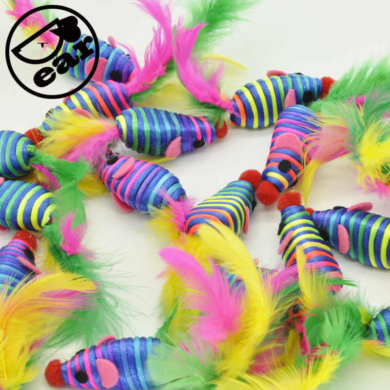 10 stk False Mouse Pet Cat Leker Mini Playing Toys med Colorful Feather Pet Cat Feather Mouse Leker
