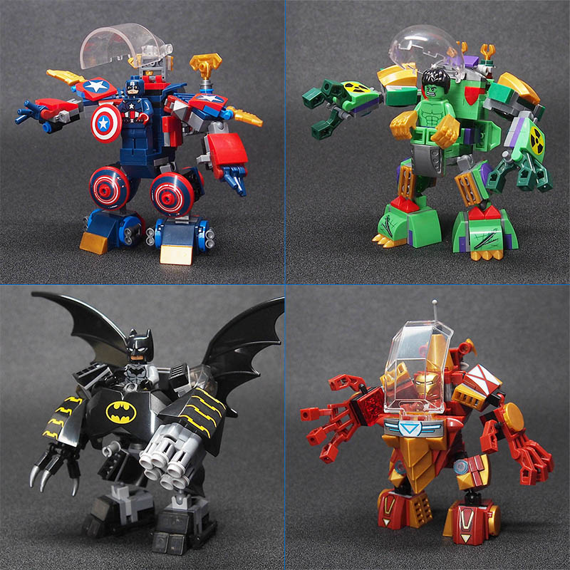 Super Heroes Figures Batman Iron Man Captain America Hulk Mecha Building Blocks Compatible lepines Model Bricks Toys Children marvel avengers super heroes figures batman iron man black widow hulk joker lepin building blocks model sets toys for children