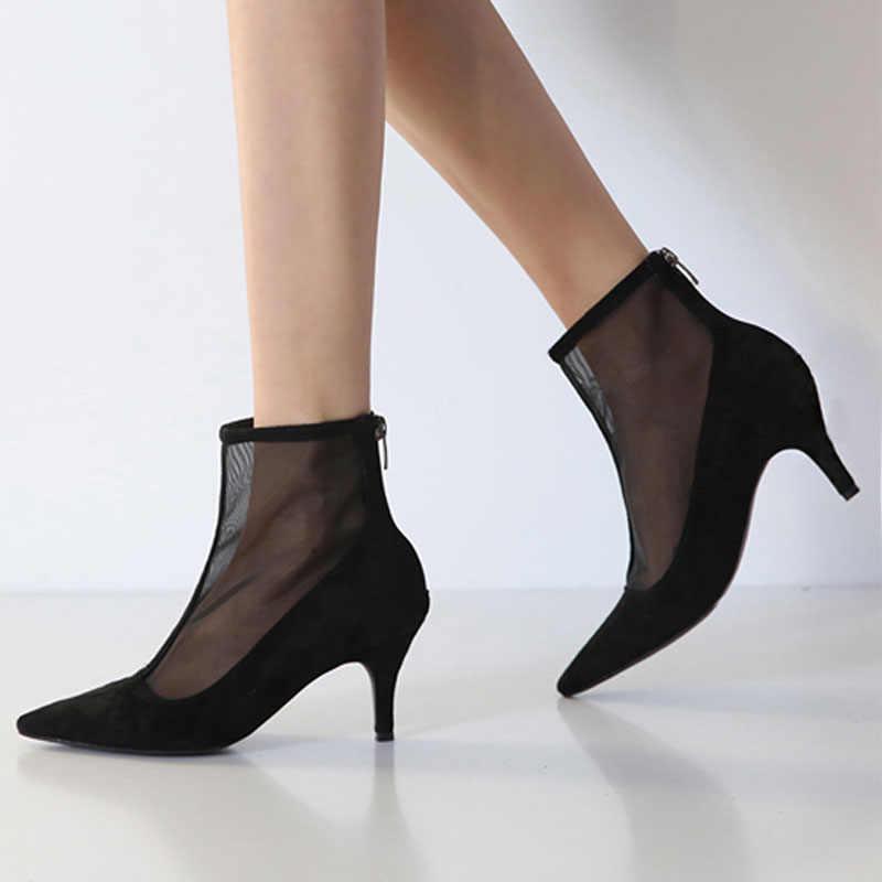 Sivri örgü kısa çizmeler kadınlar 2018 yeni hollow stiletto topuk fermuar yaz ve sonbahar nefes sandalet Kadın tek çizmeler