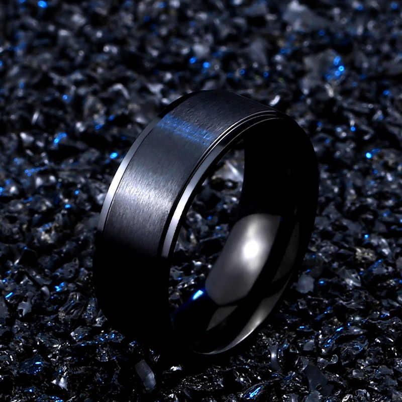 BEIER new store 316L สแตนเลสแฟชั่นสีดำเรียบง่ายแหวนเครื่องประดับคุณภาพสูงของขวัญผู้หญิง BR-R096