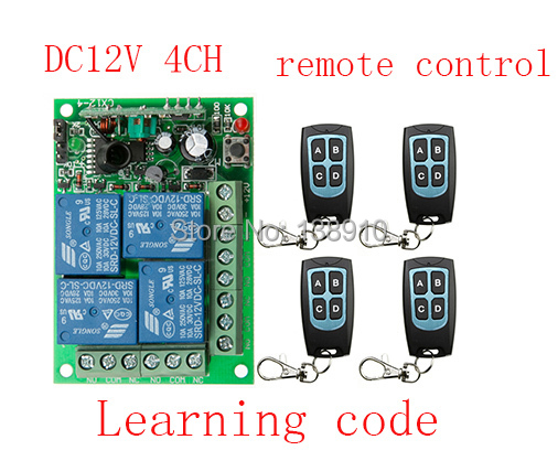 New DC12V 4CH RF Wireless Remote Control System  teleswitch 4 transmitter and 1 receiver universal gate remote control