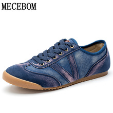 Men's Denim Canvas Shoes Retro Blue Jeans Casual Shoes for Male Breathable Lace-up Men Sneakers chaussure homme size 39-44 776m