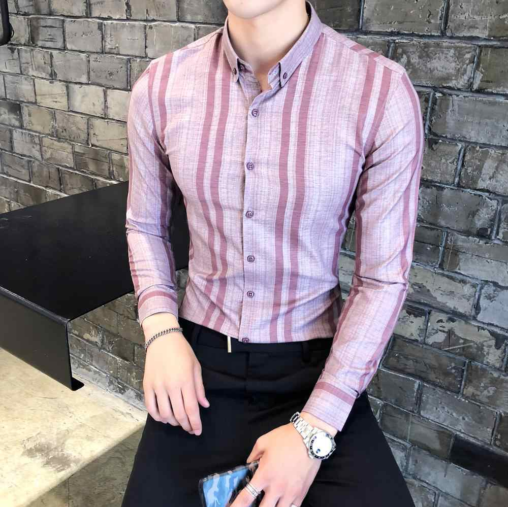 Men Shirt High Quality Chemise Homme Autumn New Long Sleeve Mens Dress Shirts Slim Fit Men Clothes 2019 Business Casual Shirts