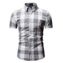 New Autumn Fashion Brand Men Clothes Slim Fit Short Sleeve Shirt Plaid Cotton Casual Social Plus Size M-3XL 3