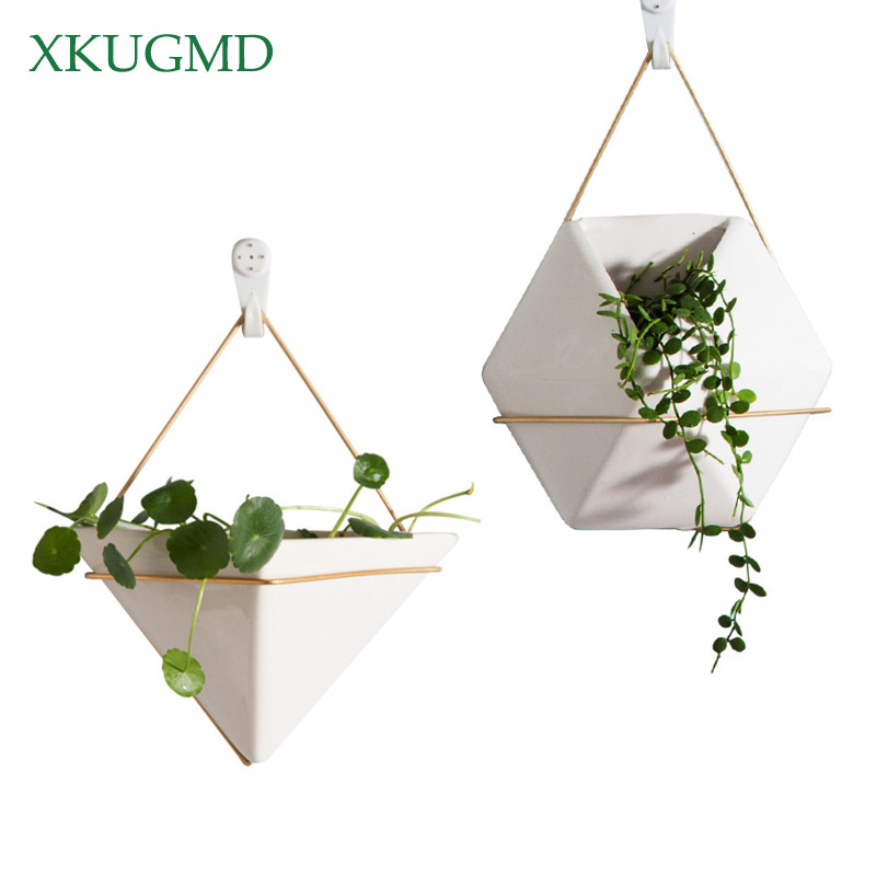 Hexagon Hanging Basket Nordic Geometric White Ceramic Wall Hanging Flower Pot Hydroponics Family Plant Potted Home