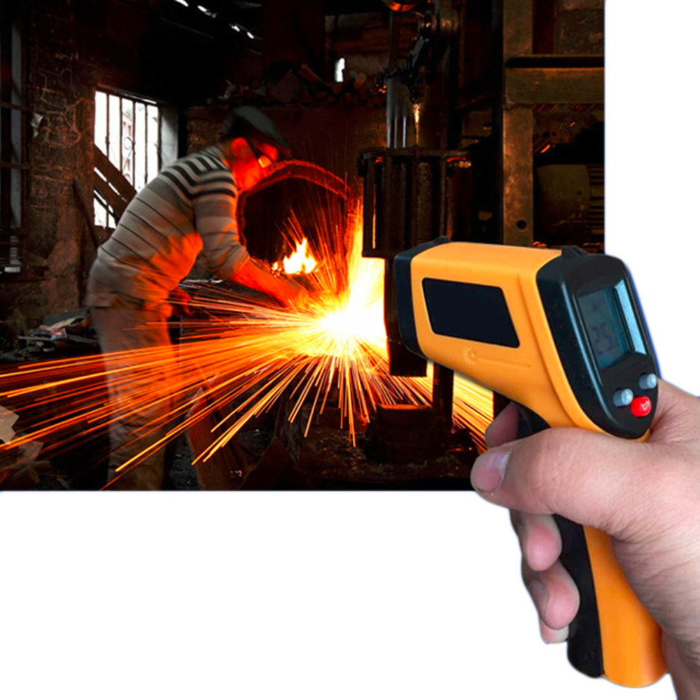 Non-contact LCD Display Digital Infrared Themperature Pyrometer IR Laser Point With Data Holding FunctionGun Meter Sensor