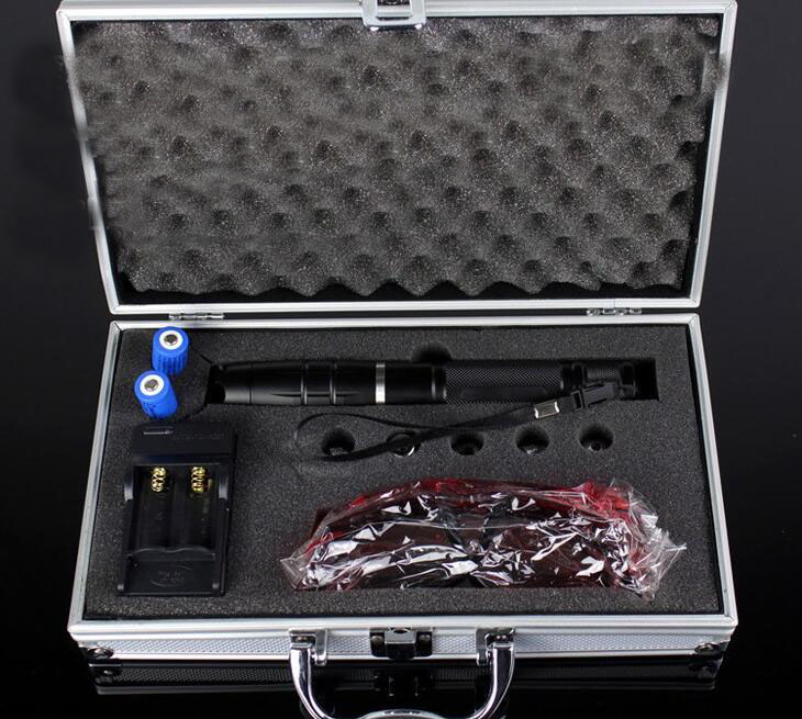 Super Powerful 450nm 200000m Blue Laser Pointer Burning High Power LAZER PEN 5 Heads Charger Glasses With Metal Box newest hight quality 450nm blue light laser pointer pen power beam 5 heads with charger with goggles with box