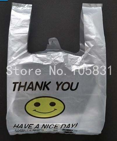 US $29 0 |100x Supermarket custom biodegradable transparent pe ldpe hdpe  packaging t shirt shopping plastic bag smile thank you bag-in Storage Bags