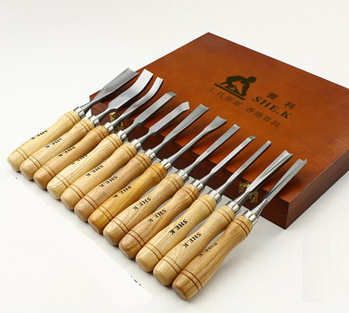 Sada na řezbářství do dřeva 12 PCS / Set Graver Knife Root Woodworking Ryté nástroje Wood Working Chisel.