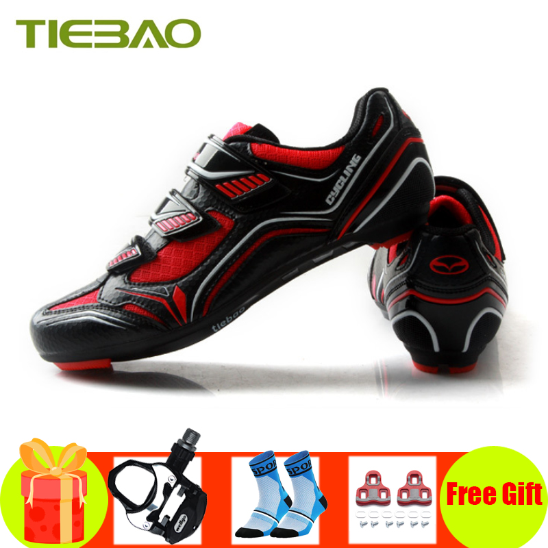 Tiebao Cycling Shoes Road Sapatilha Ciclismo 2019 Men Breathable Bicicleta Pedals Shoes Self-locking Superstar Bike Sneakers