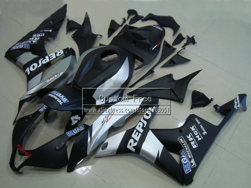 ABS Injection body fairings kit for Honda CBR 600 RR fairing set 07 08 CBR 600RR CBR600RR 2007 2008 black repsol motorcycle part abs injection front upper fairing front cowl nose for honda cbr 600 rr 600rr 2007 2008 unpainted