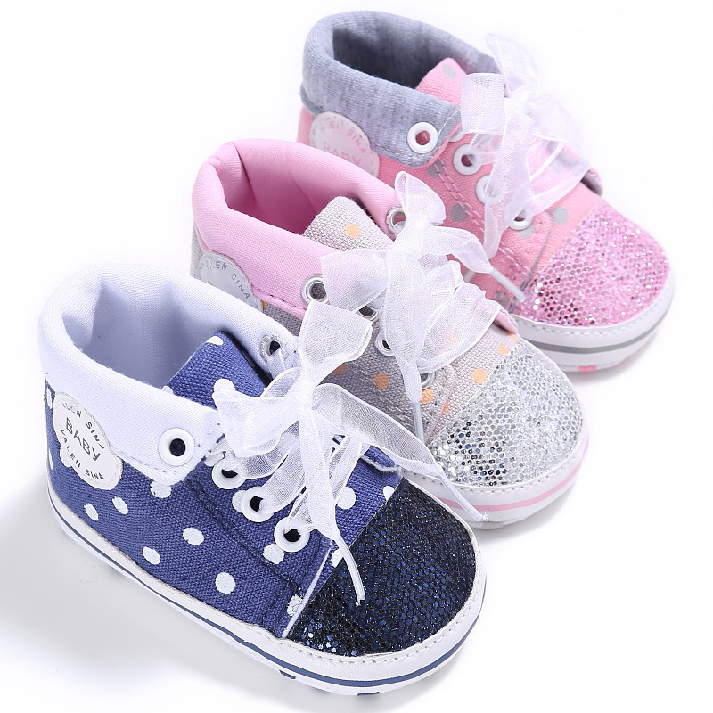 Babyshoes New Spring/Autumn Baby Girls Fashion Polka Dot Lace-UpSneakers Soft Sole Infant Toddler Shoes First Walkers 0-18M
