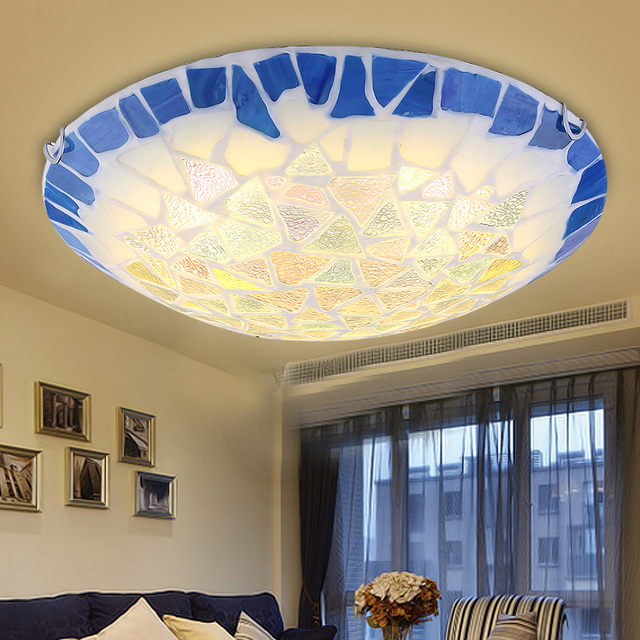 Surface Mounted Mediterranean Glass Led Ceiling Lights For Living Room and Bedroom luminaria teto Fashion Ceiling Lamp For Home