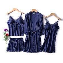 JULYS SONG المرأة فو الحرير روب للنوم 4 قطعة مثير منامة مجموعة الدانتيل حبال السراويل الصيف رداء ملابس خاصة