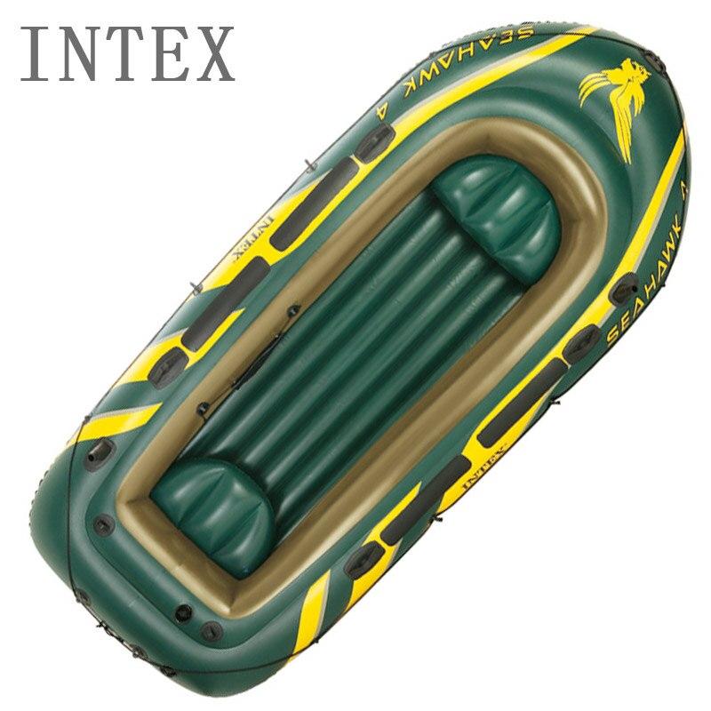 Intex 68351 bateau à rames bateau pneumatique kayak épaissi 4 personnes bateaux de pêche caoutchouc dingey