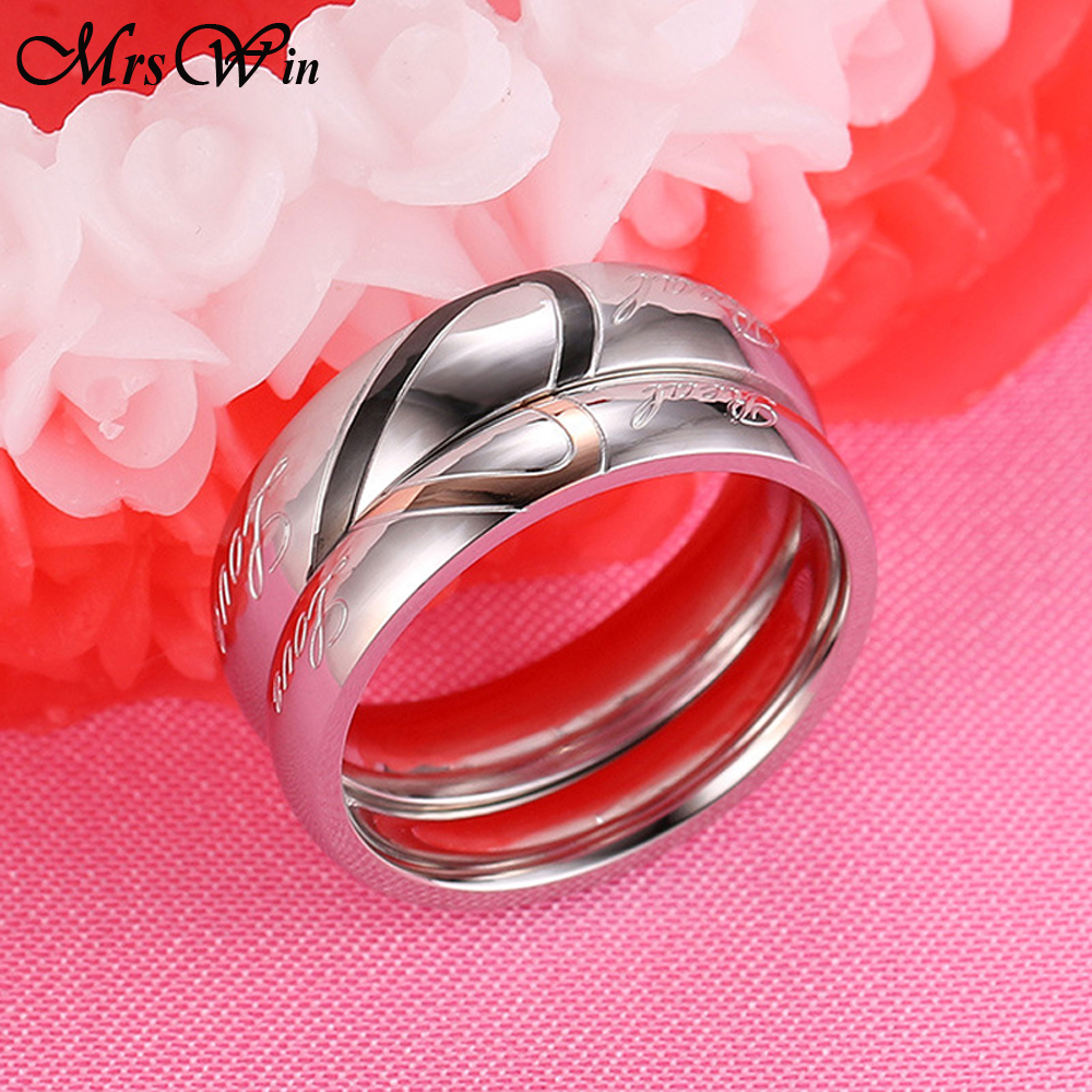 New Love Couple Ring Titanium Steel Heart Lover Ring for Women Men ...