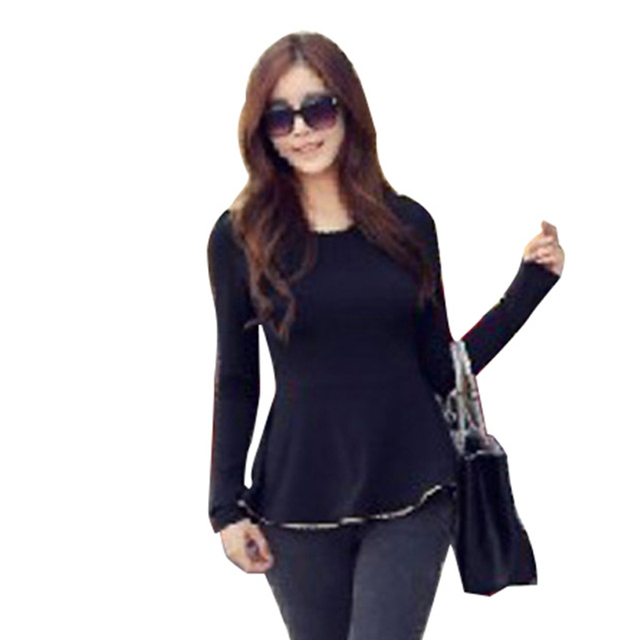 New Fashion T-shirt Sexy Womens Tunic Gold Hem Long Sleeves Fitted Peplum  Tops Shirts D0006