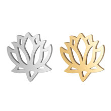 10pcs 316L Stainless Steel Double Side Polished Hollow Out Lotus Flower Design Dangle Charm Connector for DIY Jewelry Findings цена и фото