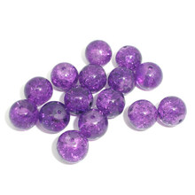 100Pcs New Round Purple Glass Crackle Spacer Beads 10mm Jewelry Making