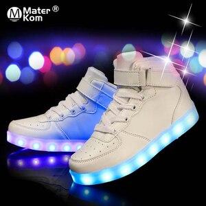 Image 1 - Size 25 37 Light Shoes Kids for Girls Boys Led Shoes Luminous Sneakers Light Up Children Tenis Led Slippers USB Recharging