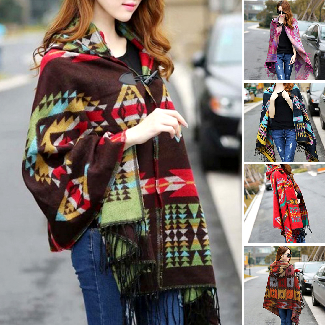 Ladies Warm Winter Hooded Wrap Poncho Wool Scarves  Cape,Mantle Ponchos And Capes Aztec Outwear Casacos Femininos Tippet