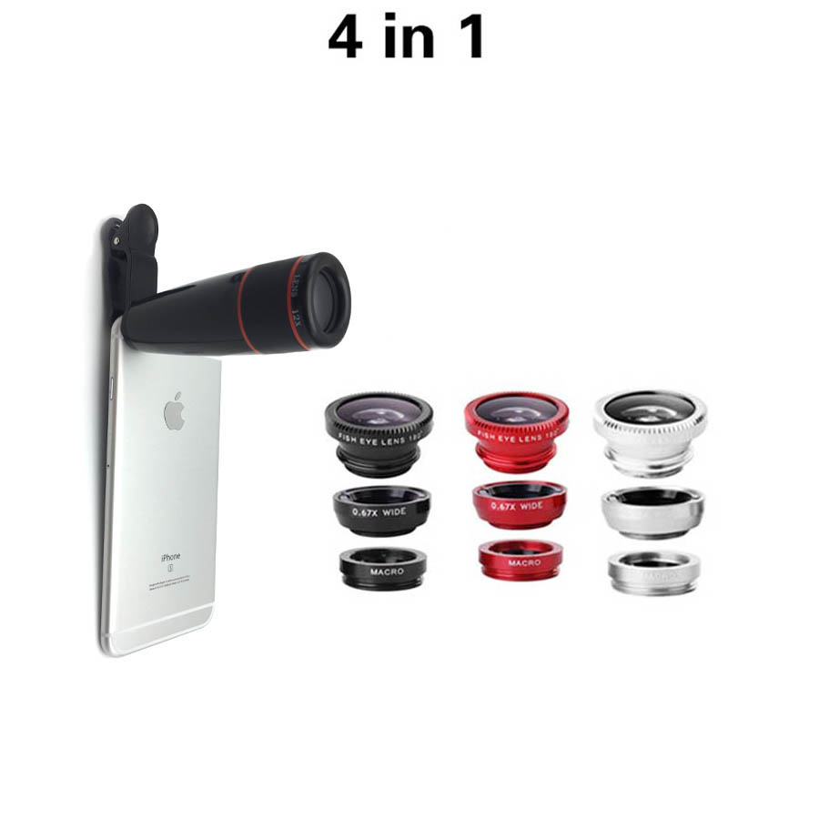 New 4in1 3in1 lens Fisheye 0 67x wide Macro lens with 12x zoom telescope lens for