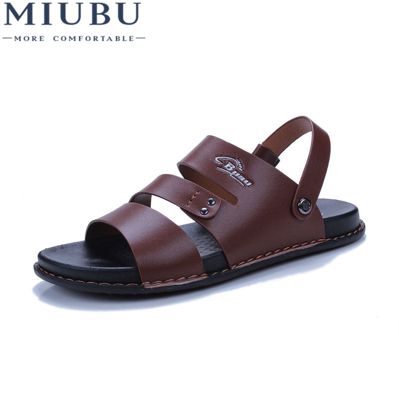 2019 MIUBU Fashion Brand Sandals Men Genuine Leather Summer Shoes High Quality Beach Footwear Mens