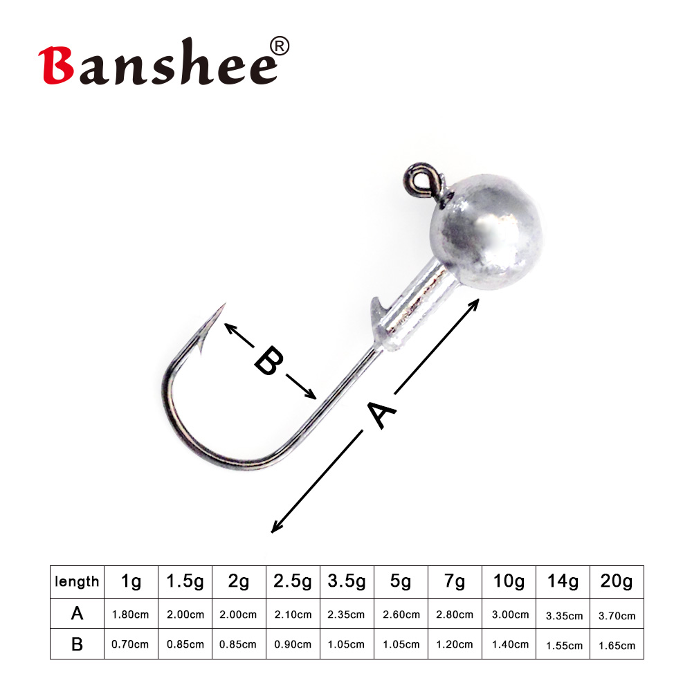 Banshee 5pcs lot Fishhook 1g 2g 5g 7g 14g 20g Jighead Tungsten Jigs Hooks Fishing Jig Head For Fishing Jig Head Hook Soft Lure in Fishhooks from Sports Entertainment